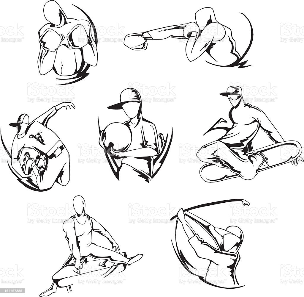 Miscellaneous Sportsmen royalty-free stock vector art