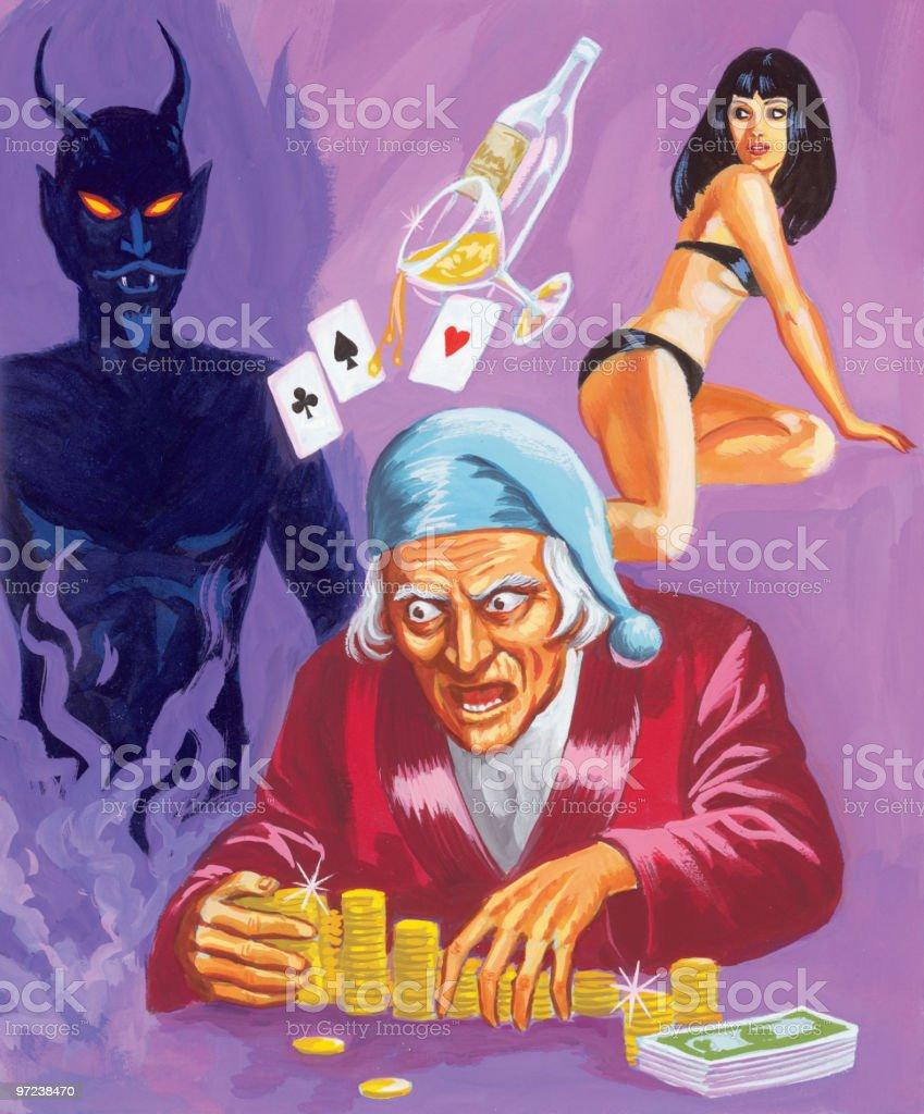 Miser, Devil and Woman vector art illustration