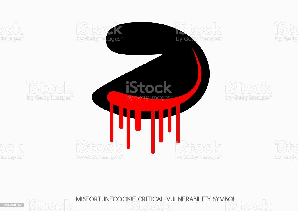 Misfortune cookie critical vulnerability router problem - bleeding cookie symbol vector art illustration