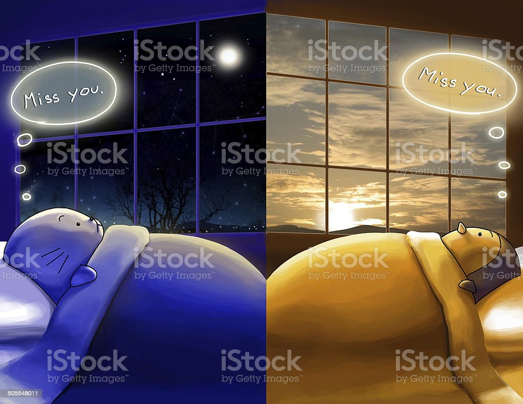 missing you. day and night, different sides of wor royalty-free stock vector art