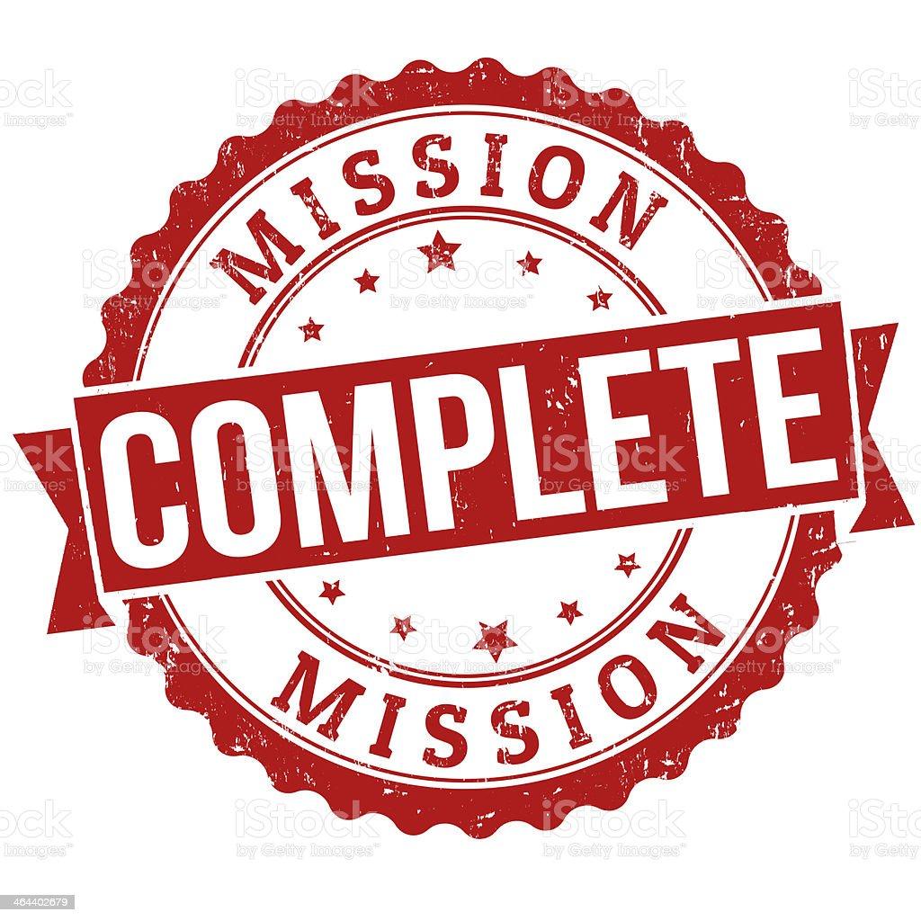 Mission complete stamp vector art illustration