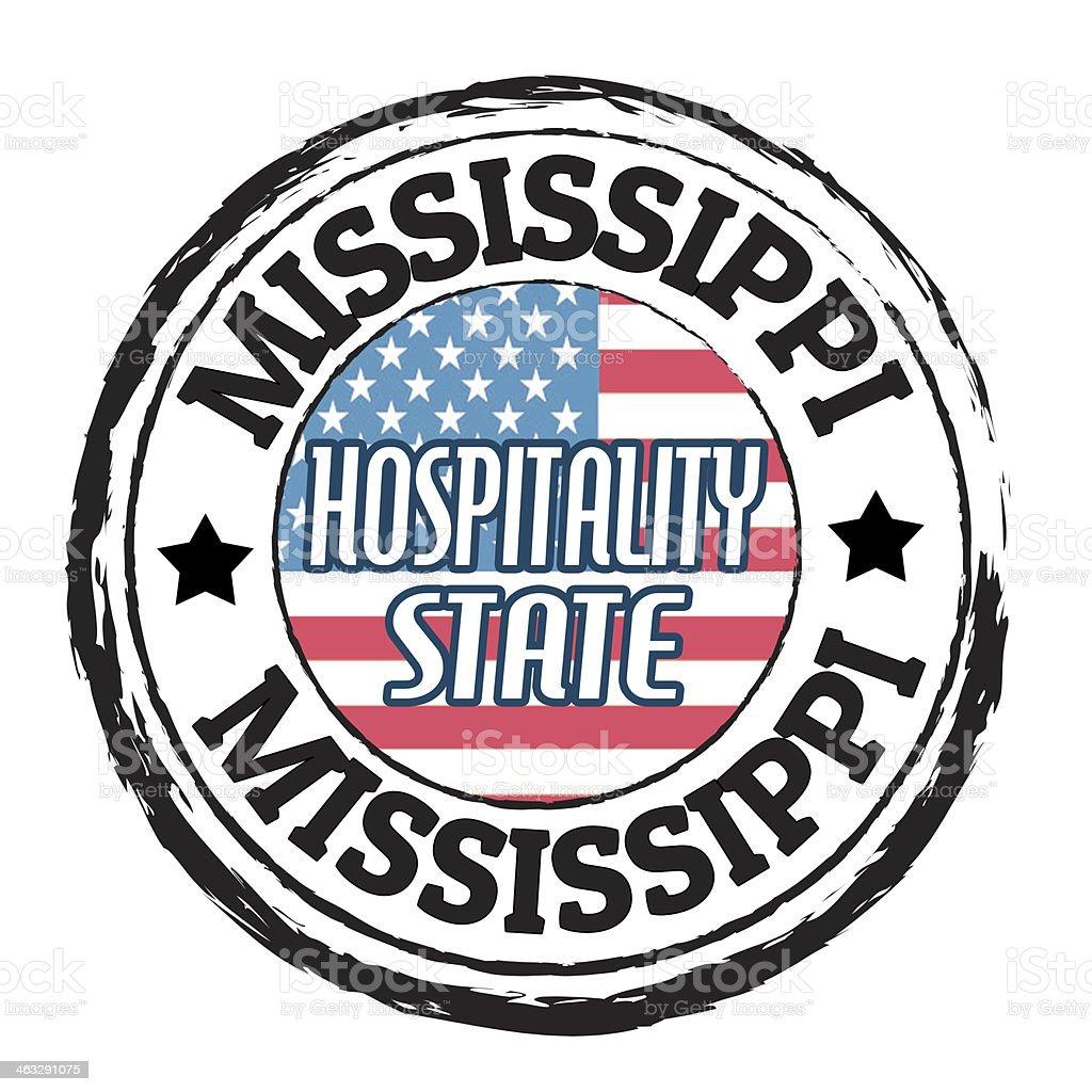 Mississippi, Hospitality State stamp vector art illustration