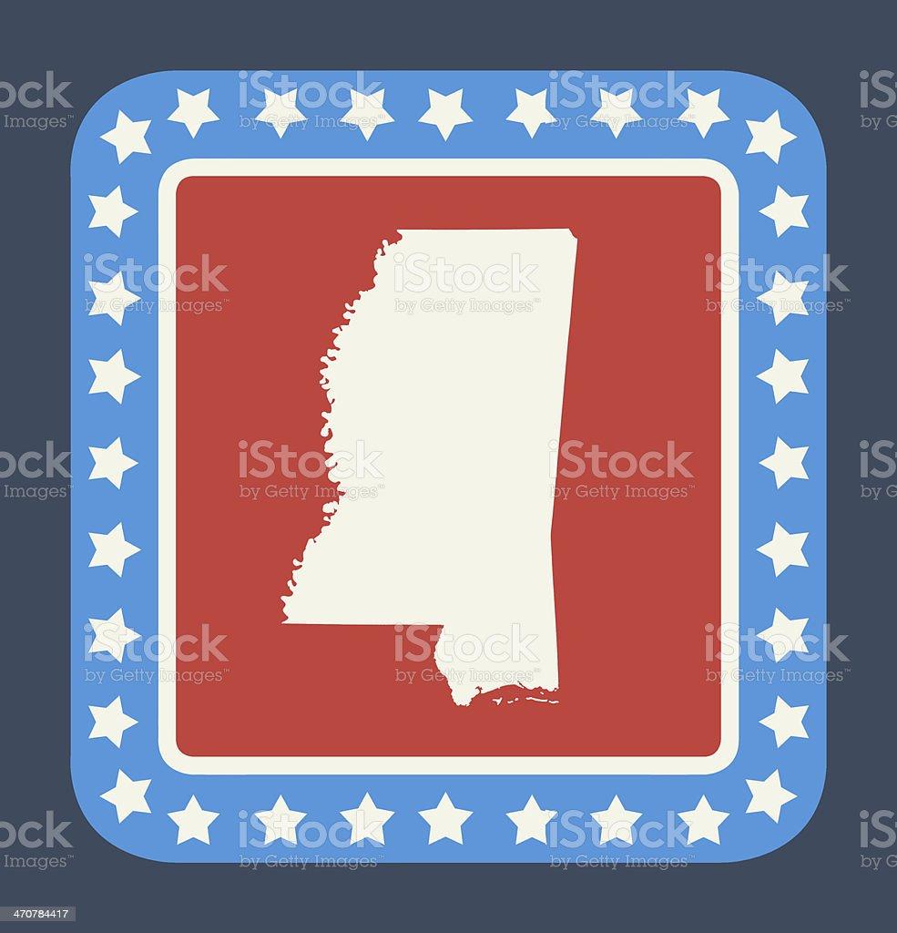 Mississippi state button vector art illustration