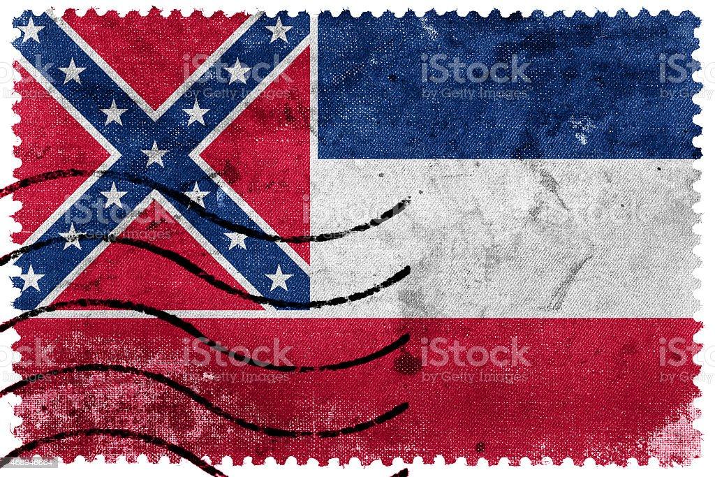 Mississippi State Flag - old postage stamp vector art illustration