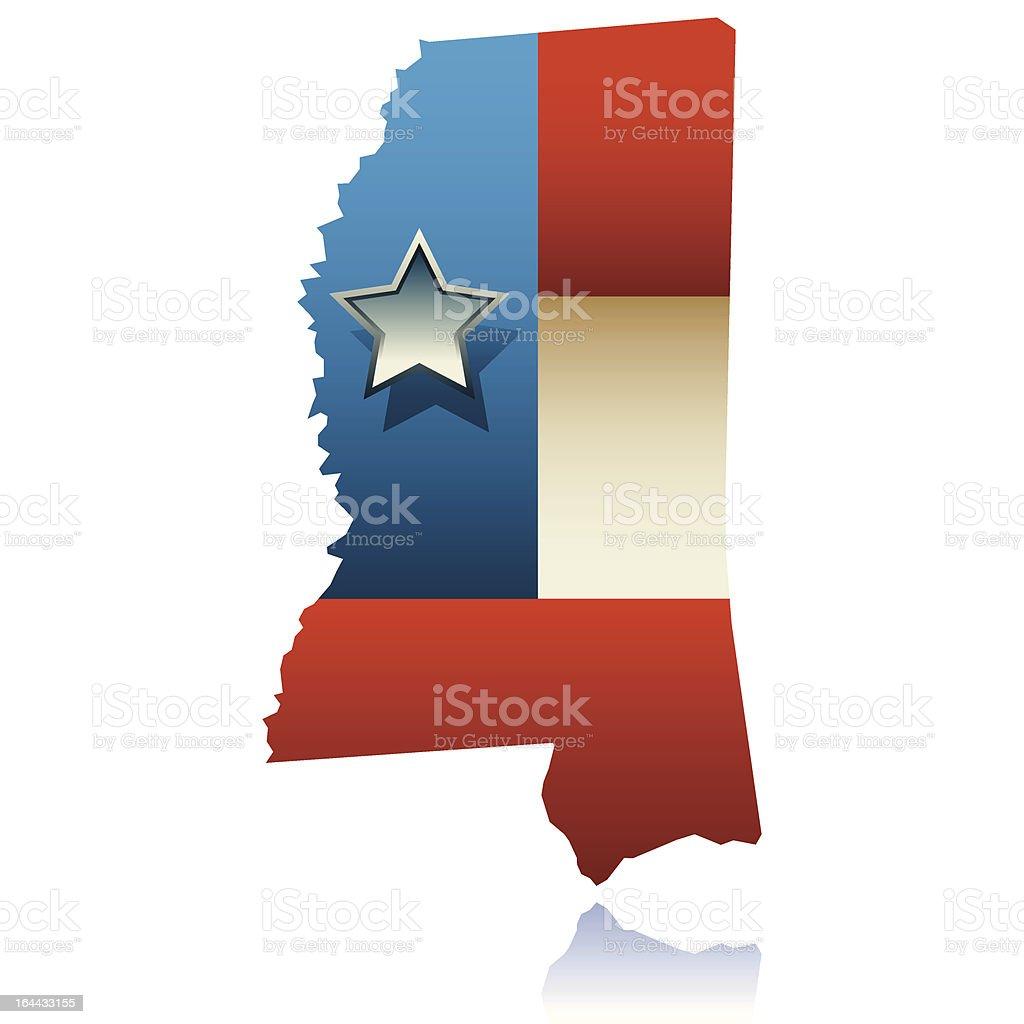 Mississippi state map vector art illustration