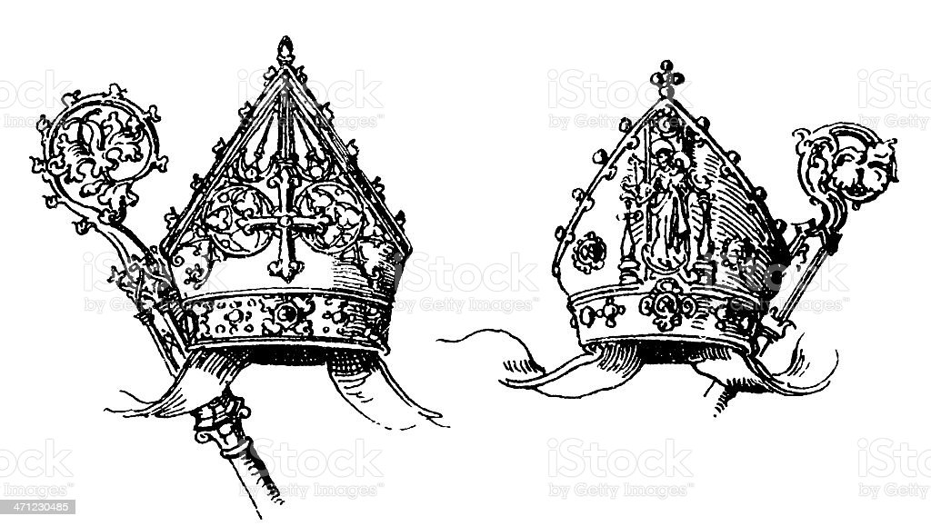 Miters and Crosiers royalty-free stock vector art