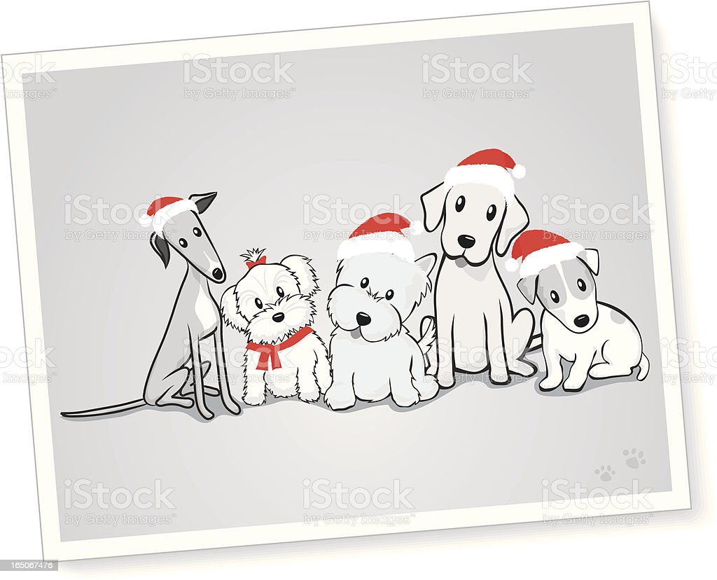 Mixed Group of dogs with Santa Hats royalty-free stock vector art
