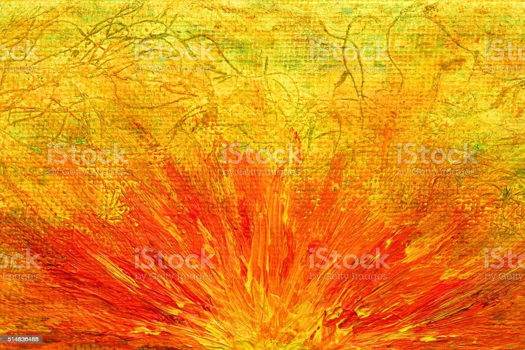 Mixed media art painting of a sunrise burst vector art illustration