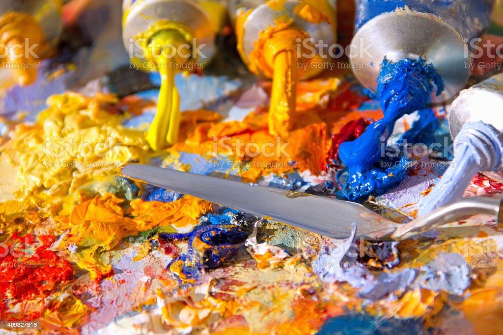mixing oil paints vector art illustration