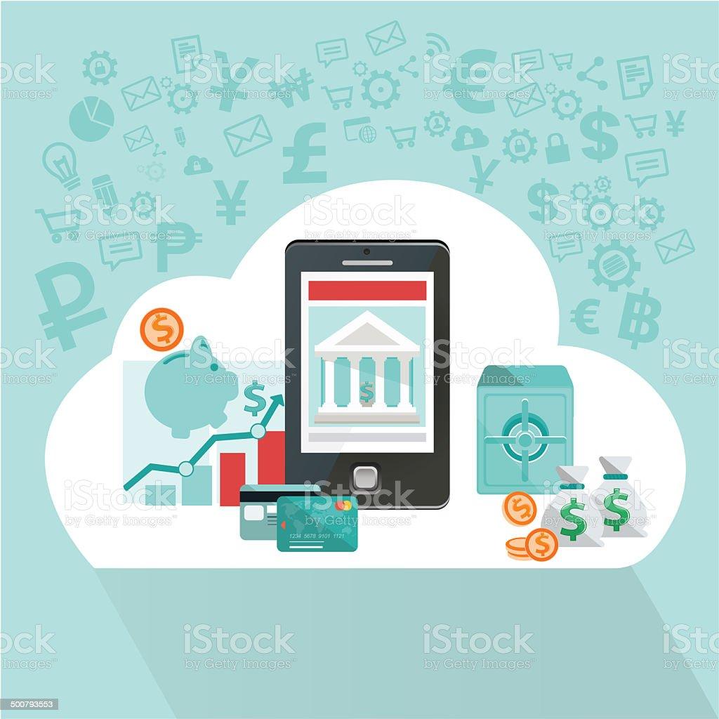 mobile banking int he cloud vector art illustration