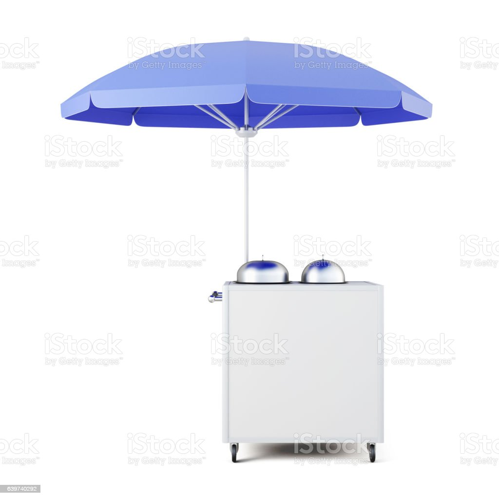 Mobile cart for sale food isolated on white bckground. vector art illustration