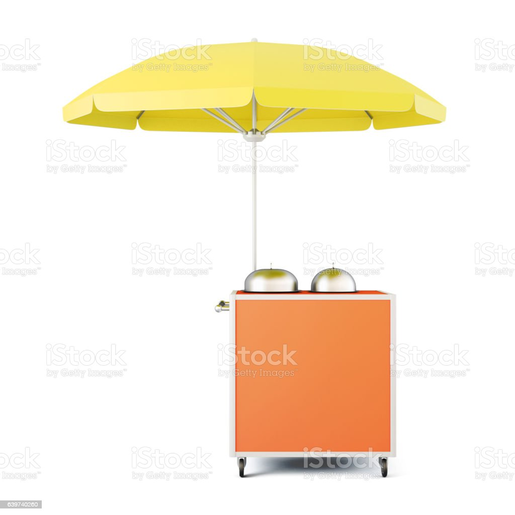 Mobile cart with umbrella isolated. 3d rendering vector art illustration