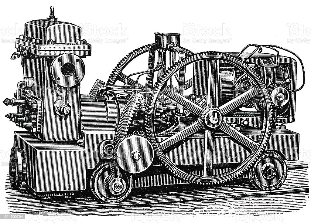 Mobile electric mining lamps motor vector art illustration