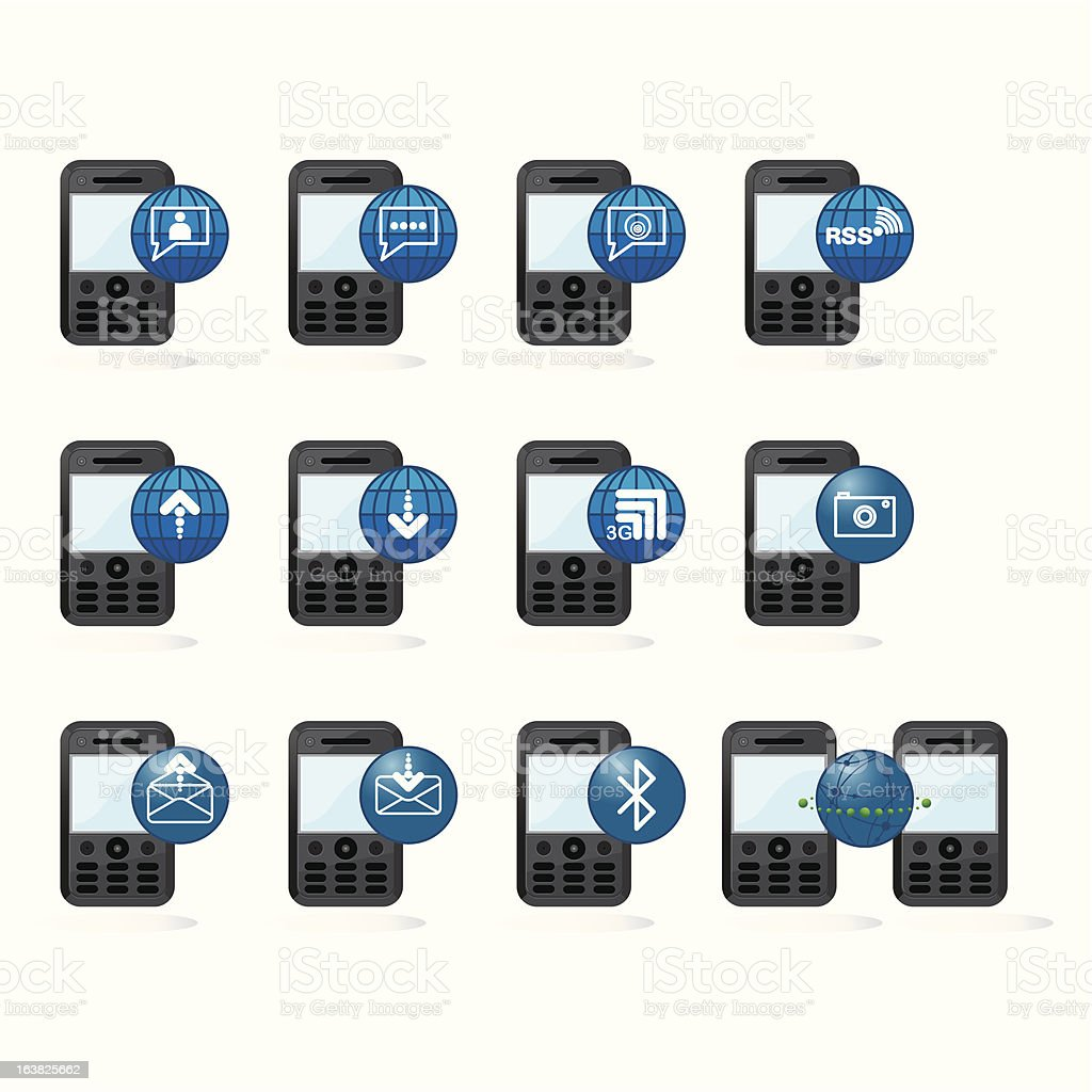 Mobile Network Icon Series 01 (Blue) royalty-free stock vector art