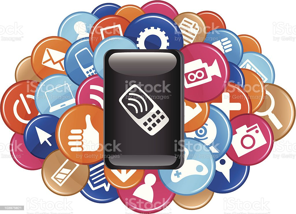 Mobile Phone Apps royalty-free stock vector art