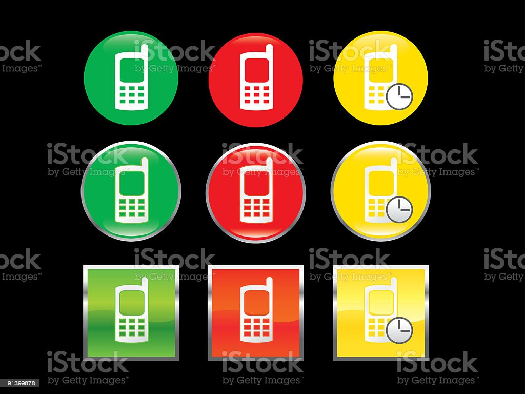 mobile phone icons vector art illustration