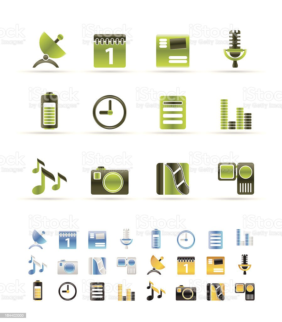 Mobile phone performance icons royalty-free stock vector art