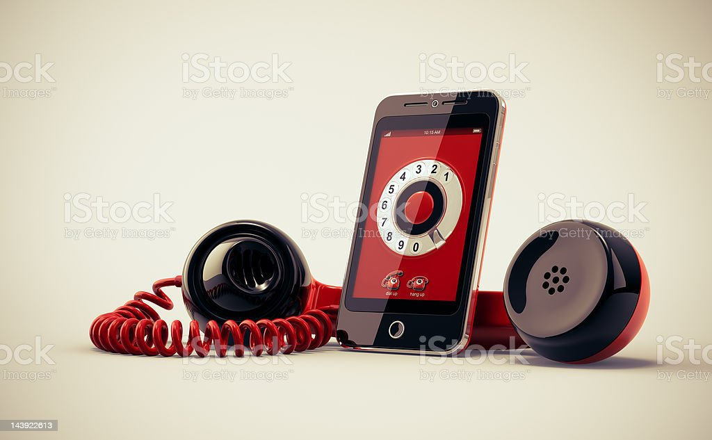 Mobile Phone With Retro Handset. vector art illustration