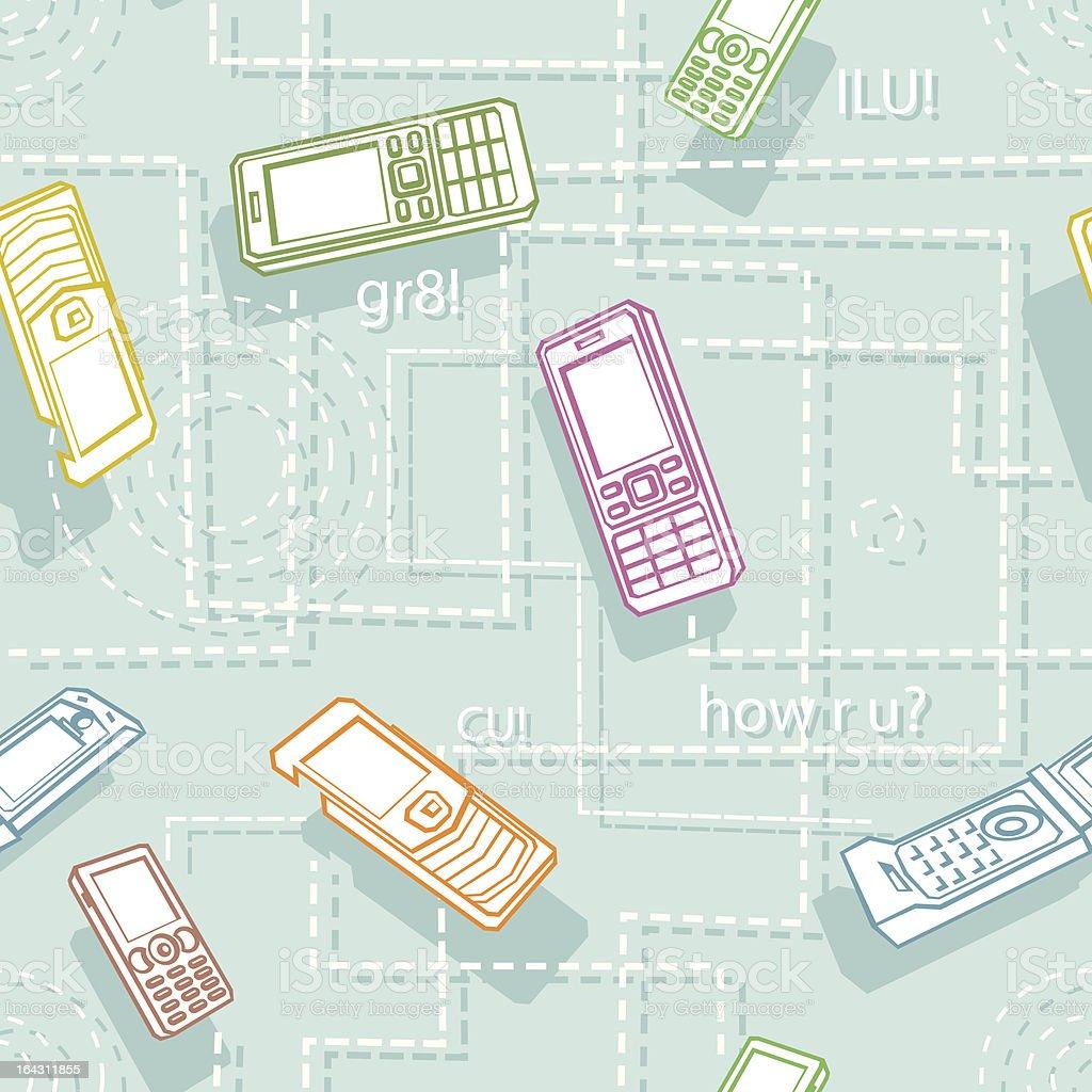 Mobile Phones Seamless Texture Cartoon Style royalty-free stock vector art