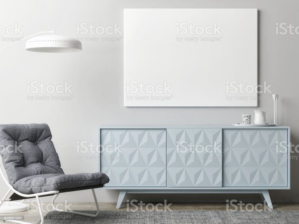 Mock up poster in living room vector art illustration