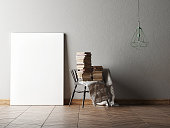 Mock up poster in minimalism interior design