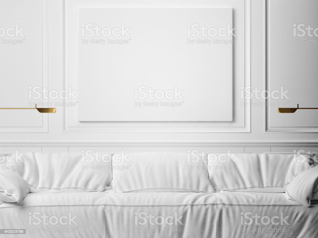 Mock up poster, minimalism white interior vector art illustration