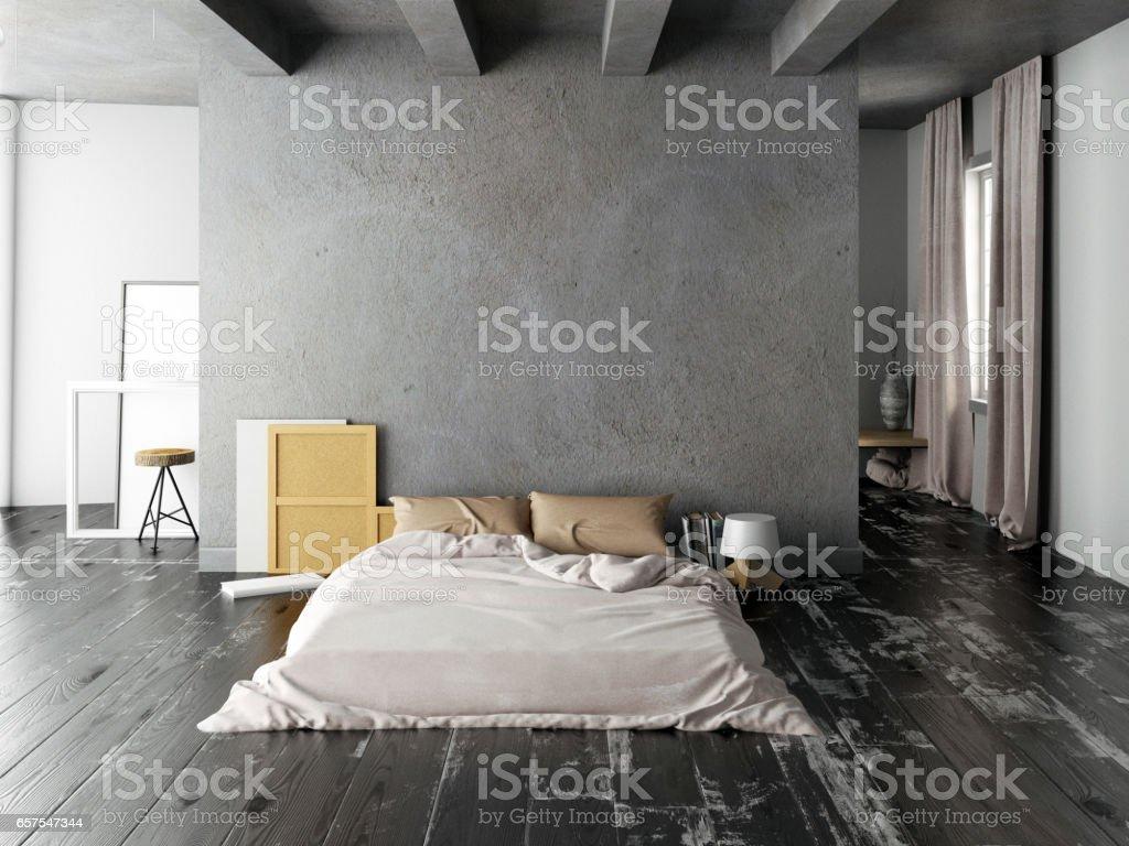 Mock up wall in bedroom interior. Bedroom hipster style. 3d illustration vector art illustration