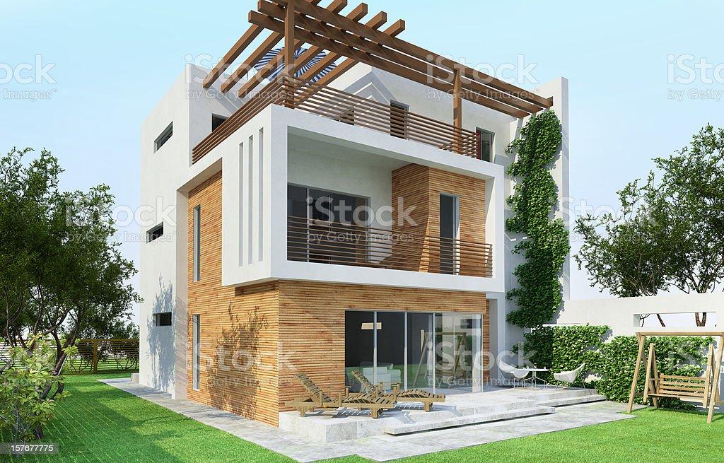 3D Model of a modern house vector art illustration