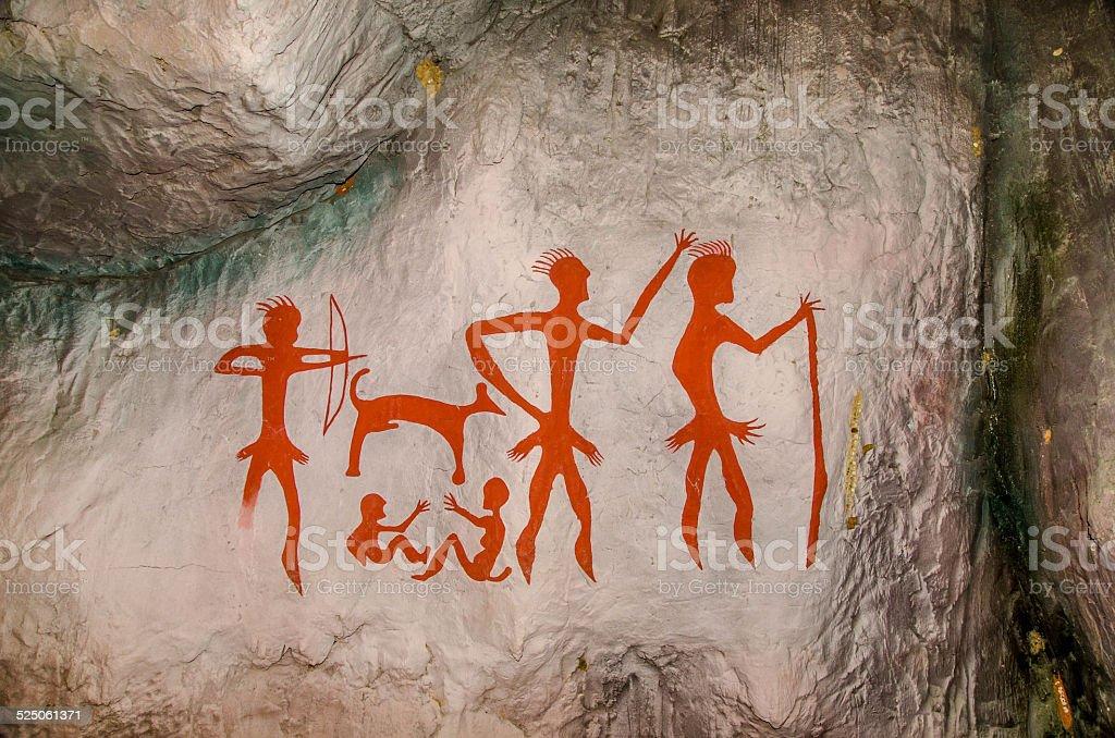 Model of Famous prehistoric rock paintings vector art illustration
