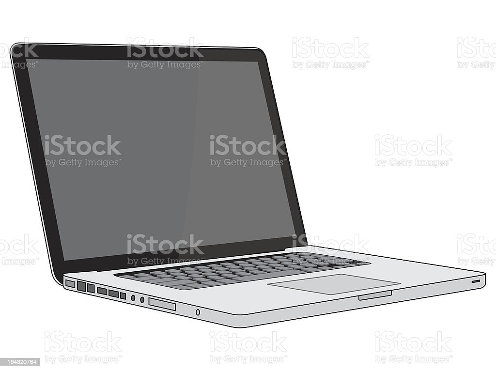 Modern and stylish laptop on a white background royalty-free stock vector art