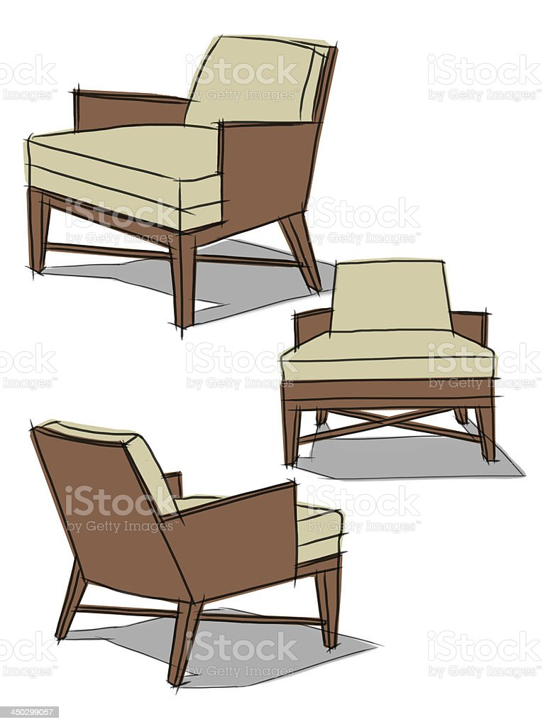 Modern classic armchair - Modern Classic Armchair Drawing Illustration Royalty Free Stock Vector Art