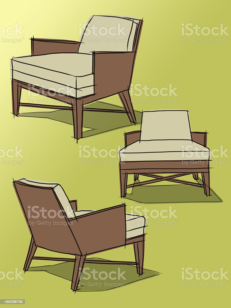 Modern classic armchair - Modern Classic Armchair Drawing On A Green Background Illustra Royalty Free Stock Vector Art