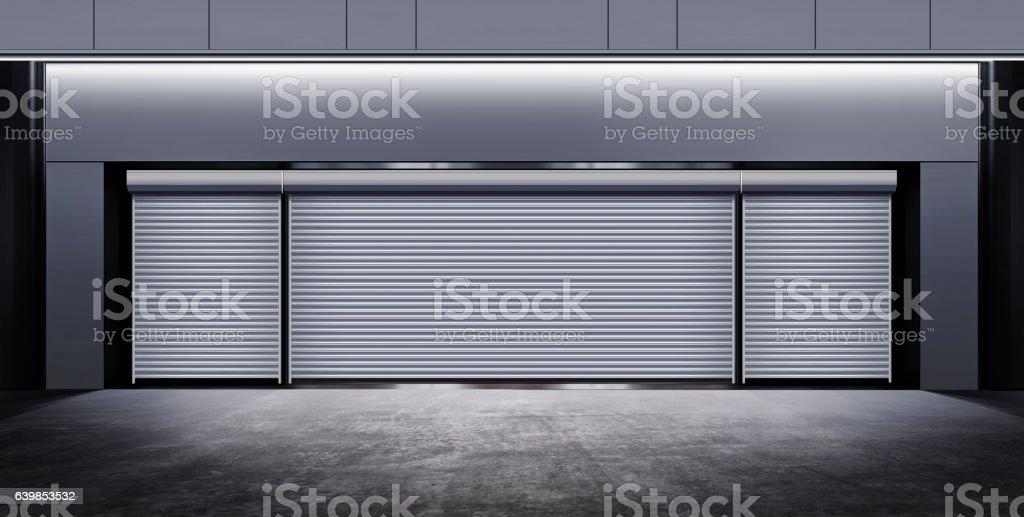 modern closed garage at night vector art illustration