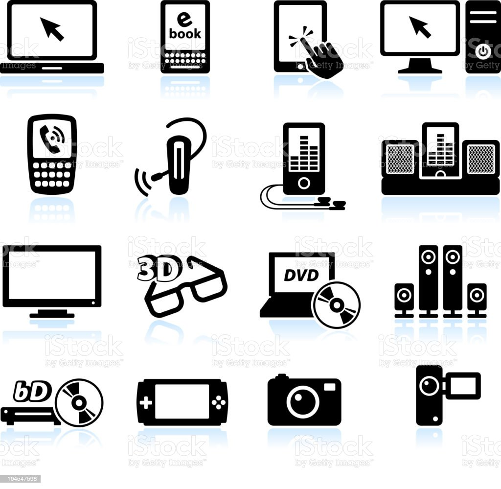 Modern consumer electronics black and white royalty-free vector icon set vector art illustration