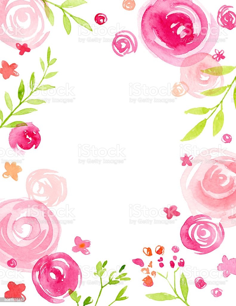 Modern Hand Painted Watercolor Floral Frame vector art illustration