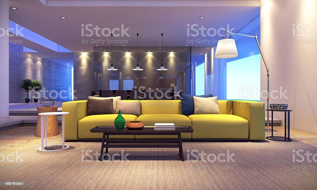 Modern house living room vector art illustration