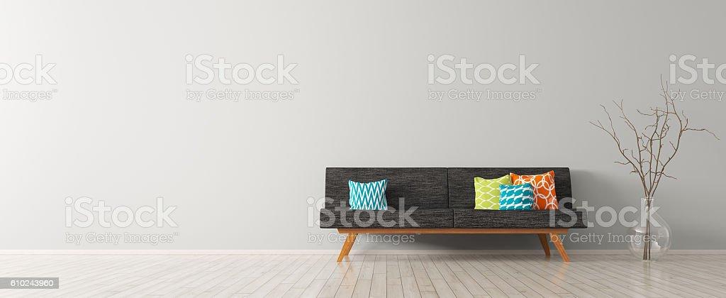 Modern interior of living room with black sofa 3d render vector art illustration
