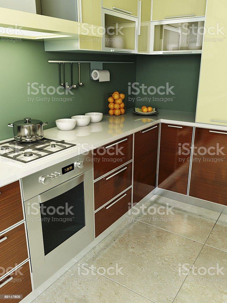 modern kitchen interior royalty-free stock vector art