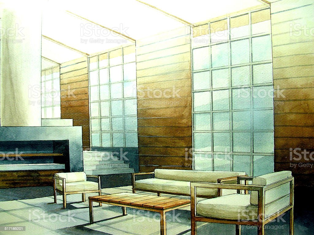 Modern living room loft with light vector art illustration