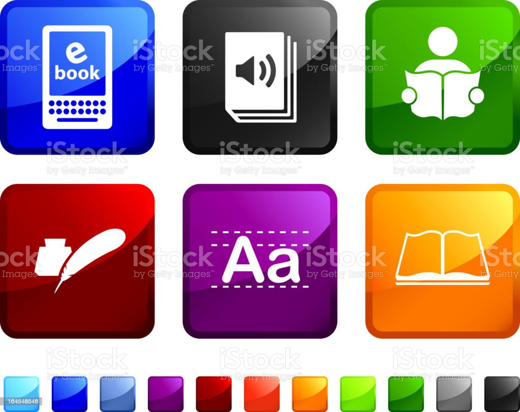 modern reading and literature royalty free vector icon set stickers royalty-free stock vector art