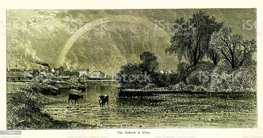 Mohawk River at Utica, New York, wood engraving (1872) vector art illustration
