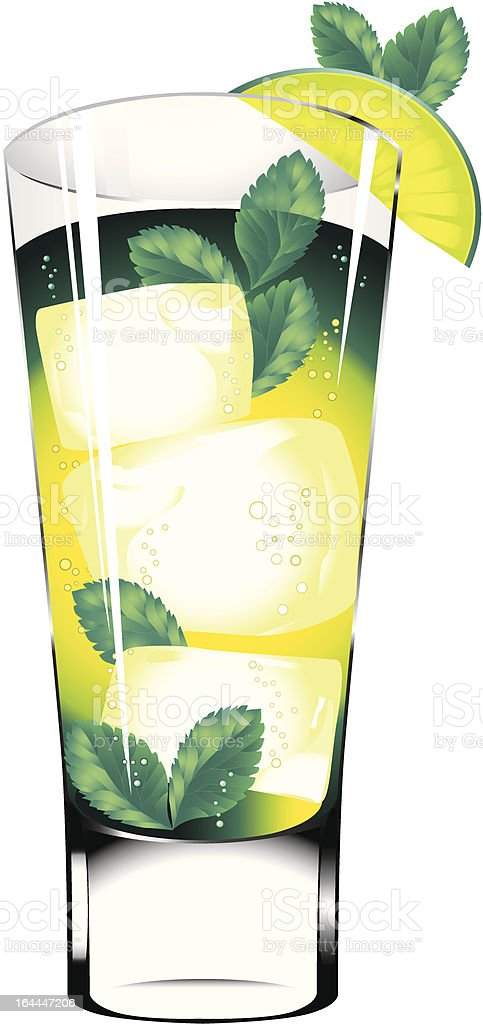 Mojito cocktail isolated on the white background vector art illustration