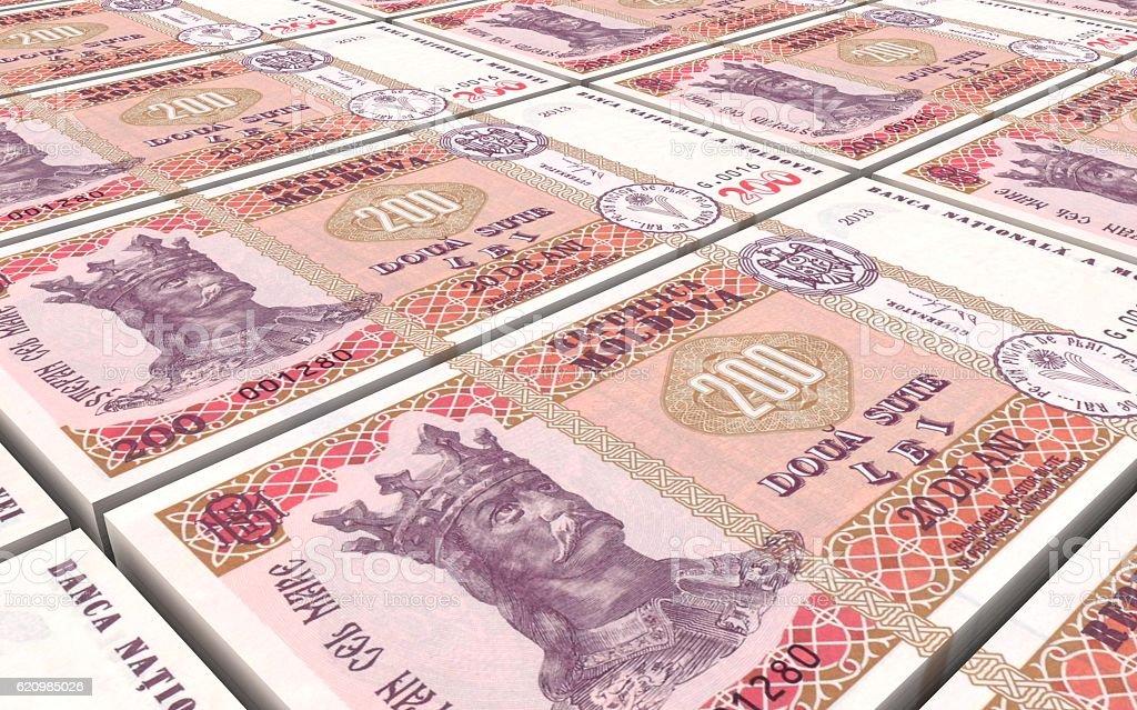 Moldovan leu bills stacks background. vector art illustration