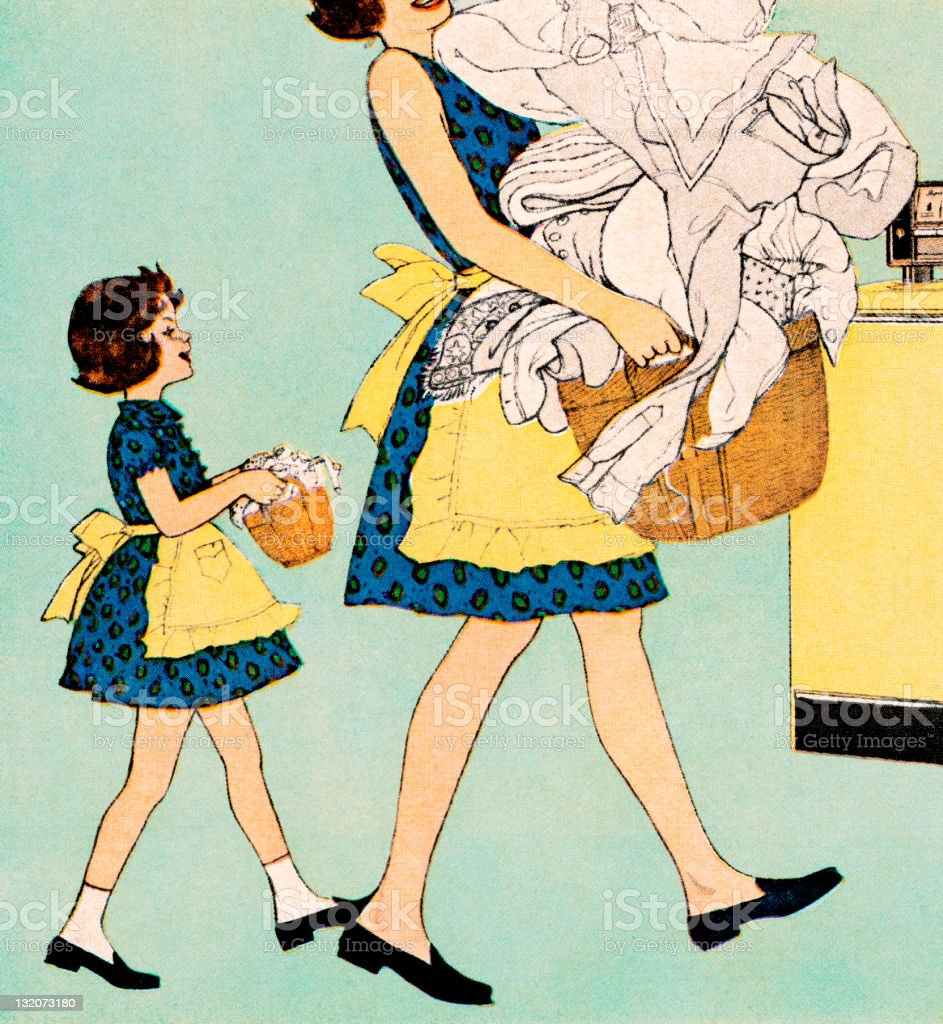 Mom and Mini-Me Daughter Doing Laundry royalty-free stock vector art