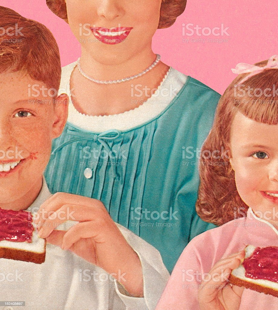 Mom With Two Children Eating royalty-free stock vector art