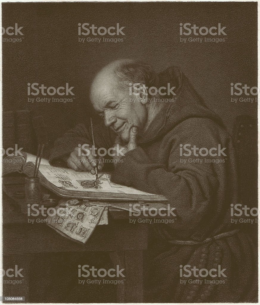Monastery genius, Lithograph, published in 1873 royalty-free stock vector art