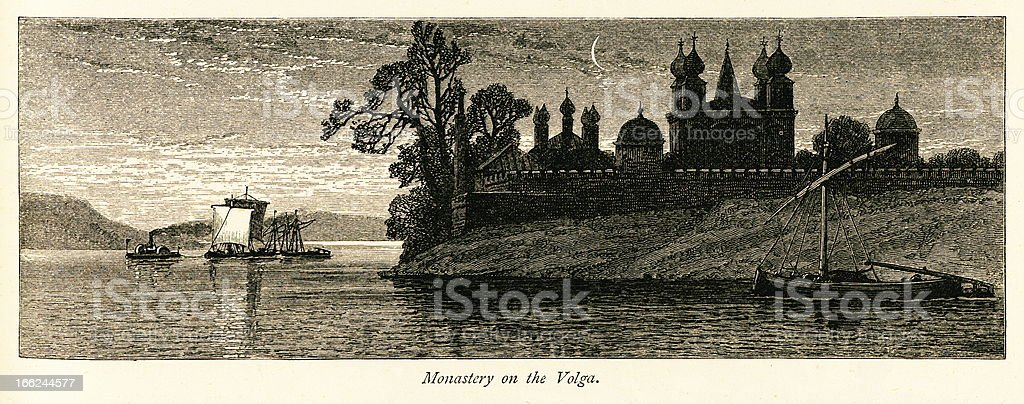 Monastery on the Volga, Russia (antique wood engraving) royalty-free stock vector art