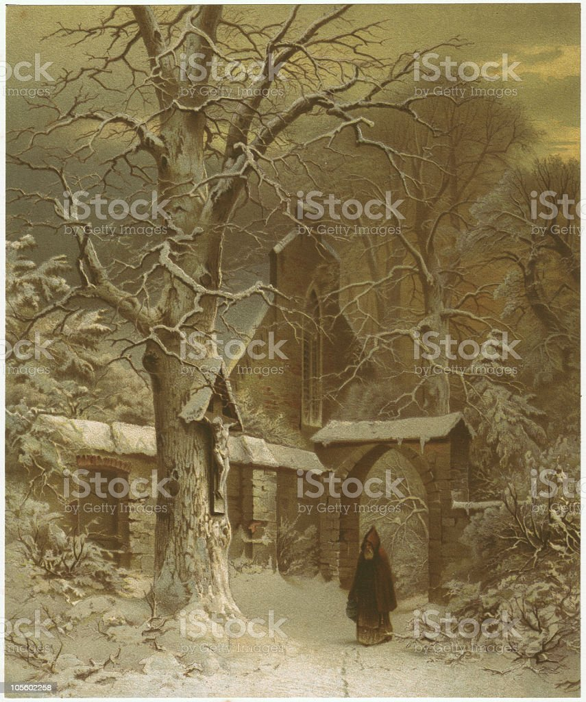 Monastery yard in winter, by S. Jacobsen, lithograph, published 1870 royalty-free stock vector art