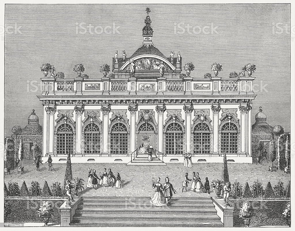 Monbijou Palace in Berlin (1732), wood engraving, published in 1877 royalty-free stock vector art