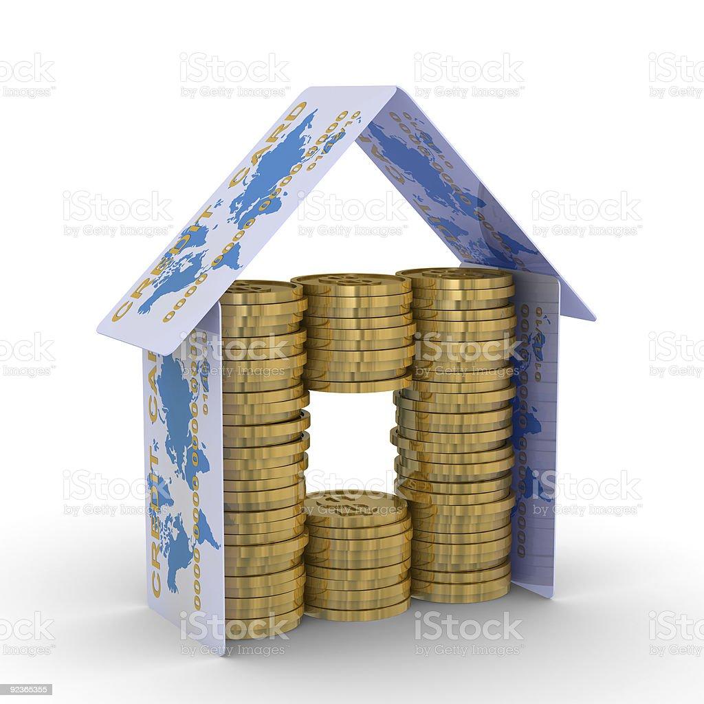 monetary house on a white background. 3D image vector art illustration